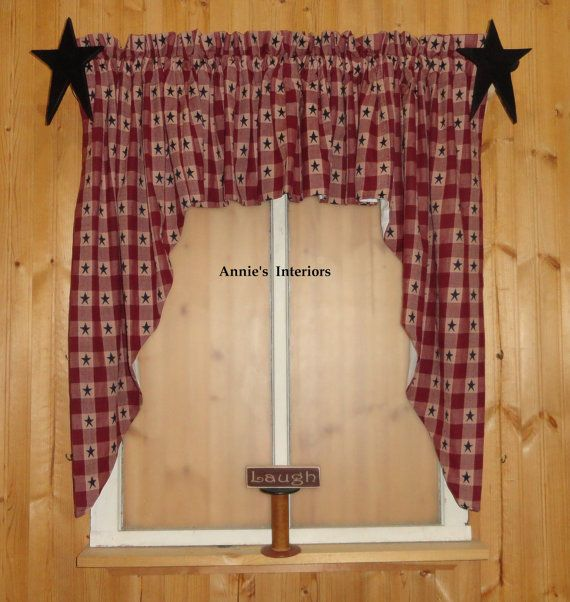 """Country Primitive 84"""" wide by 36""""Long Swag Curtains Burgandy Check wi ..."""
