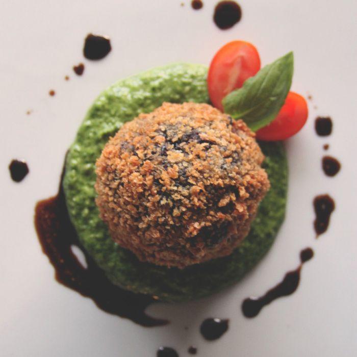 ... Rice, Shiitake Mushroom, and Goat Cheese Arancini with Arugula Pesto