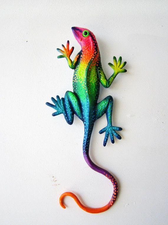 Outdoor Wall Decor Gecko : Gecko art wall sculpture
