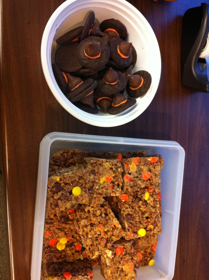 ... fudge creams and peanut butter rice krispie treats with reeses pieces