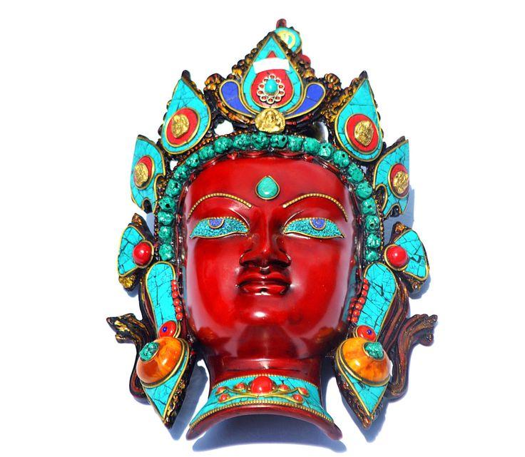 Decorative Wall Face Masks : Vintage wall decor mask tara buddha hanging face