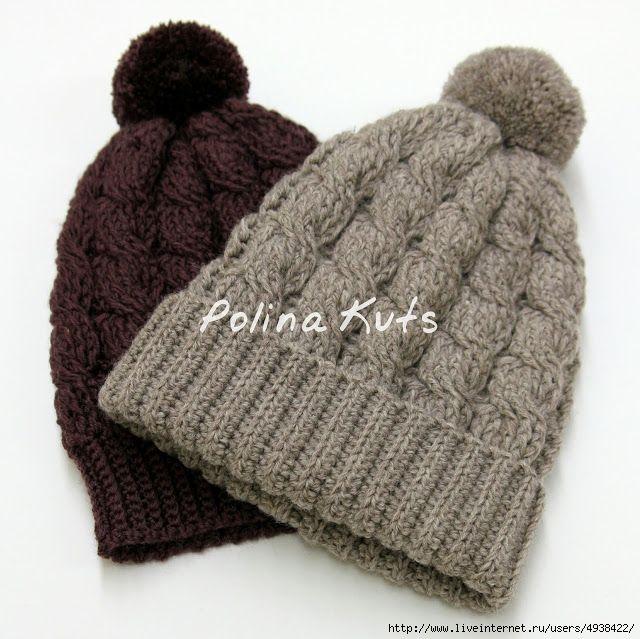 Вязанная шапка поперечным вязанием
