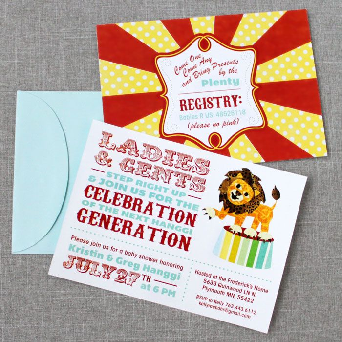 circus baby shower invites circus party pinterest