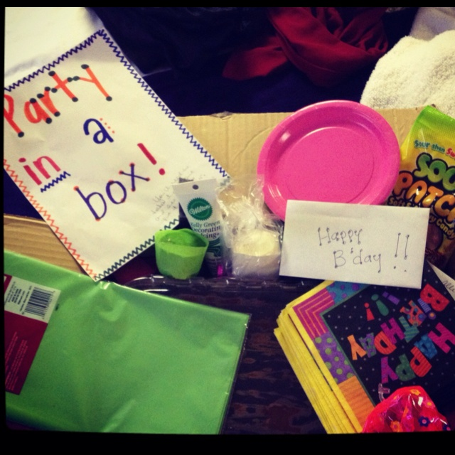 To a birthday girl away at college: send her a box full of party things! Balloons, streamers, brownies/cake, cake decorating tools, plates, napkins, etc. Everything that will help het create her own party with her friends in her dorm room. Just make it fun! My mom did it for my birthday, which is tomorrow :)