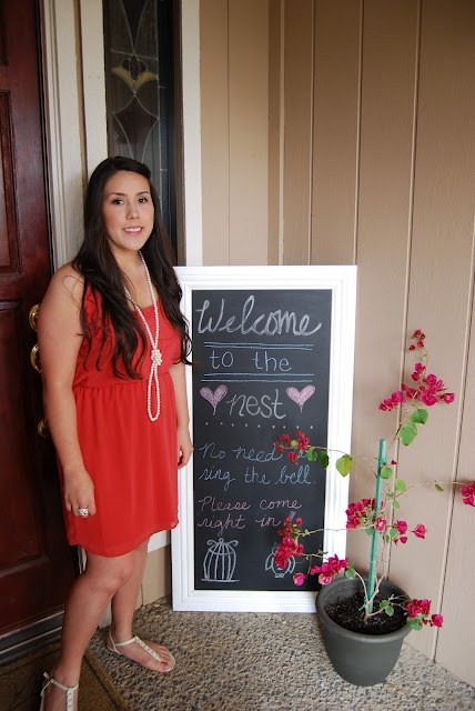 Welcome to the nest chalkboard sign - feather the nest bridal shower