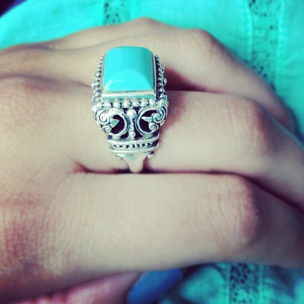 Ornate Bali Style Rectangle Cut Sterling Silver Turquoise Ring $75