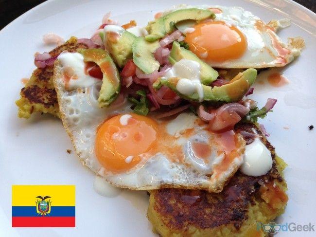 Ecuador - Llapingauchos: Fried spicy potato cakes, topped with tomato ...