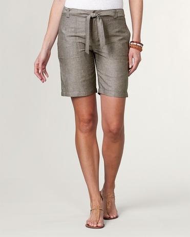 Natural linen stripe shorts - [K12973]