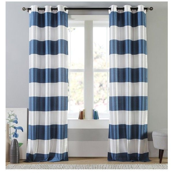 Navy and white striped curtains