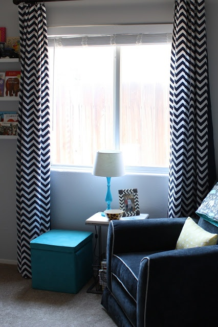 navy chevron curtains