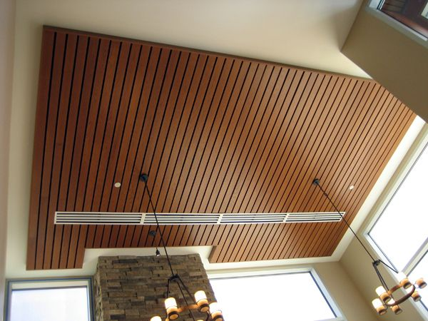 Possible wood slat ceiling for sunroom wood slats pinterest - Wood slat ceiling system ...