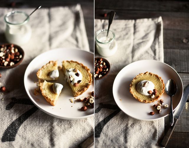 Maple butermilk tarts with hazelnut crust. First recipe with my ...