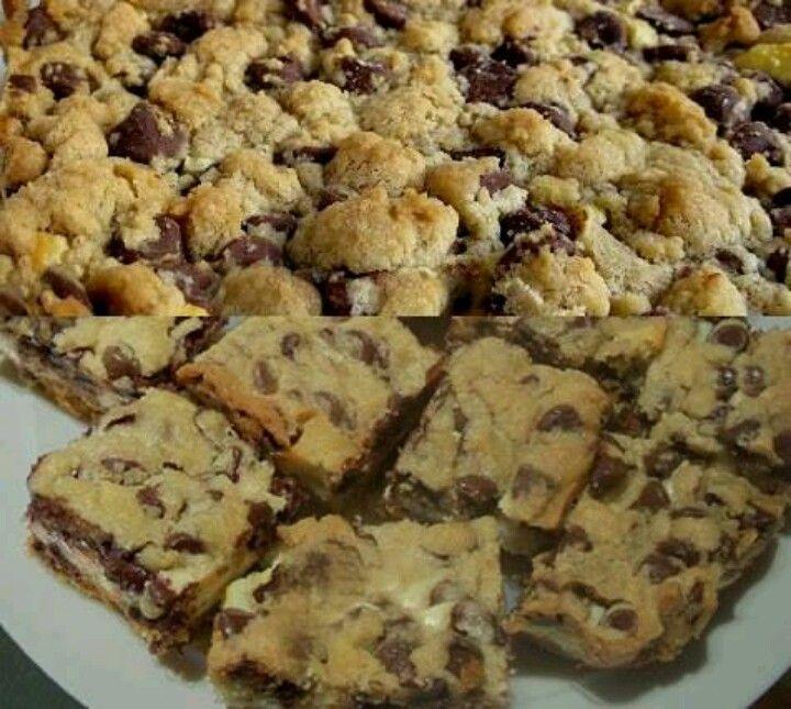 Chocolate chip cheesecake bars | yummies | Pinterest