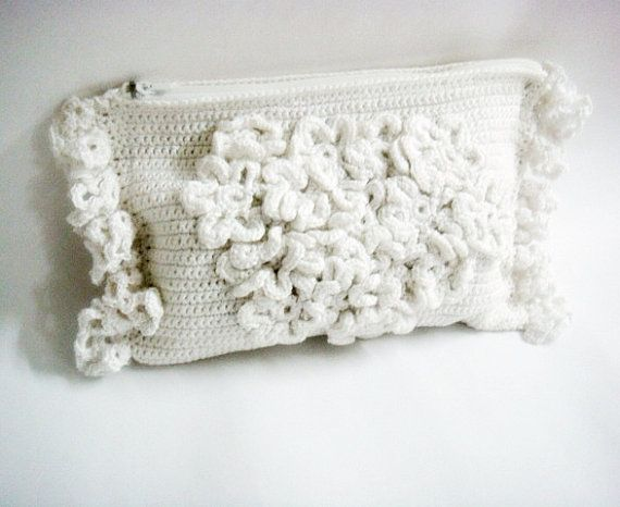 Crochet Clutch Purse : White Wedding Bridal Clutch Crochet Purse Bag