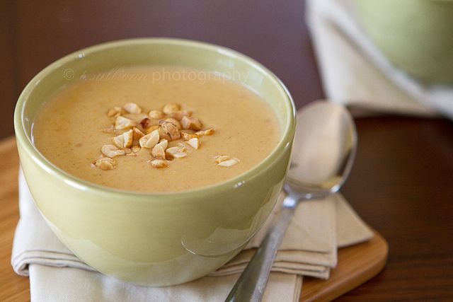Peanut and Butternut Squash Soup -- yummy and rich, next time I'll put ...