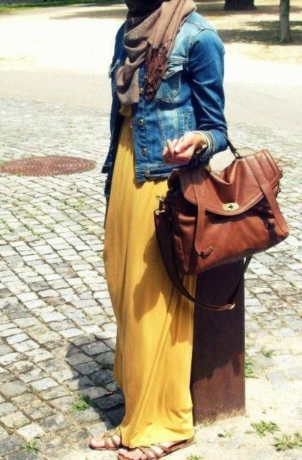 Maxi dress, jean jacket & scarf. Wear it durning cold weather.