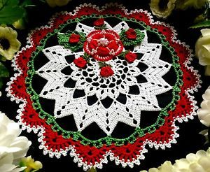 Free Crochet Pattern Christmas Doily : Hand crocheted Christmas doily