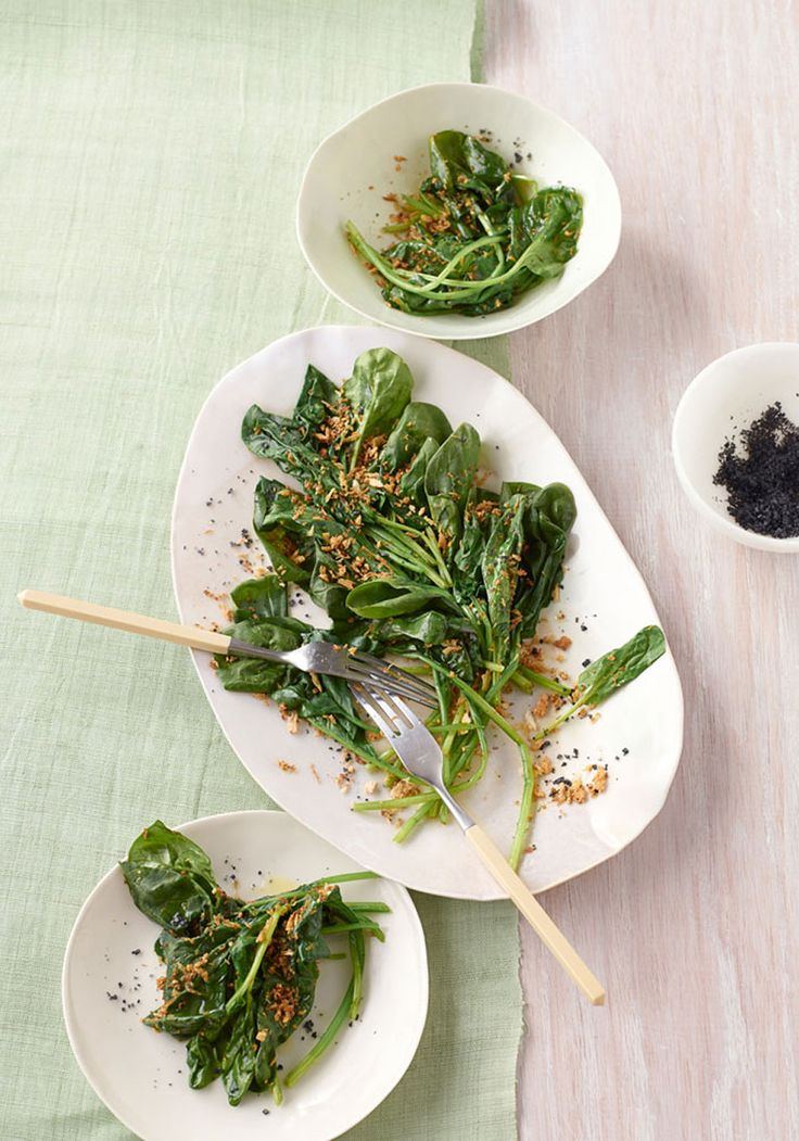 Wilted Spinach with Golden Sesame-Garlic Crumbs Recipe
