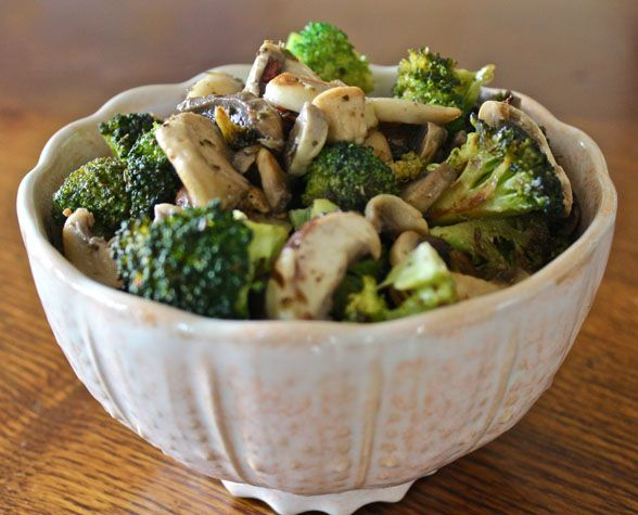 ... with rosemary brazil nut cheese, sautéed mushrooms & broccoli florets