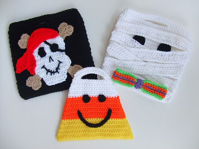 Free Crochet Patterns For Trick Or Treat Bags : Halloween Trick or Treat Bags Set 2 Crochet Pattern