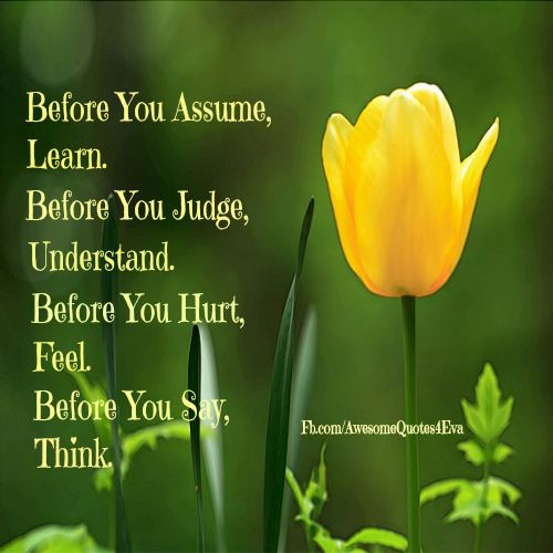 Before you assume, learn the facts. Before you judge ...