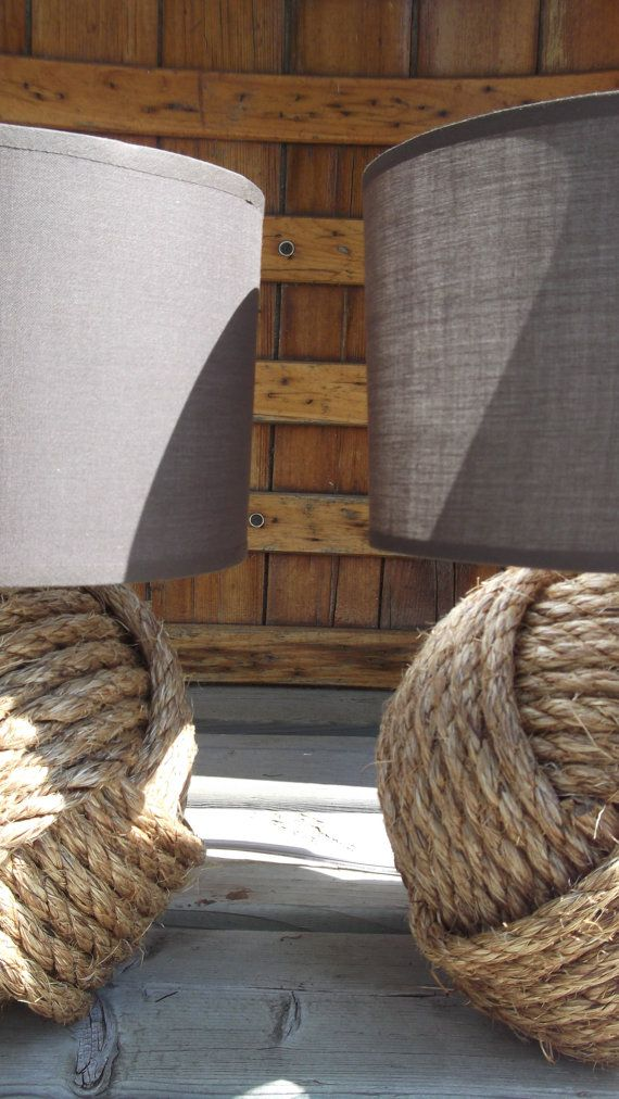 Nautical home decor two nautical style rope lamps without shades - Nautical rope decorating ideas ...
