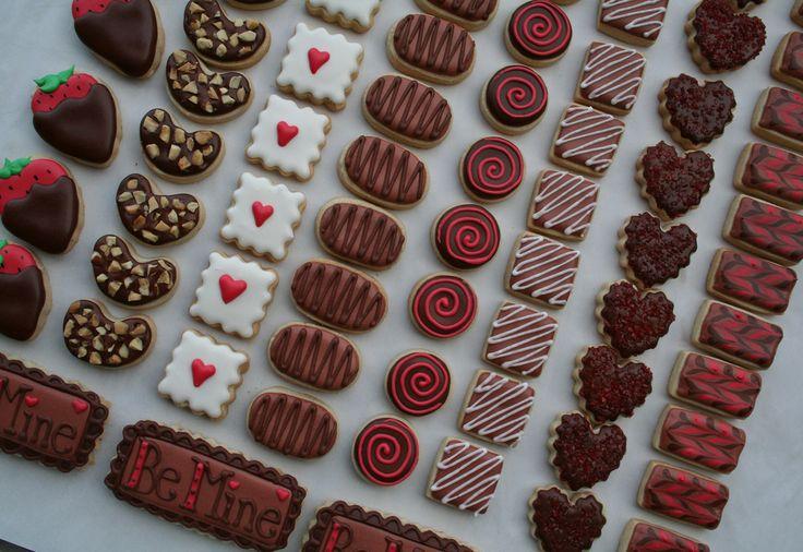 valentines 'chocolate box' cookies   Valentine's Day   Pinterest