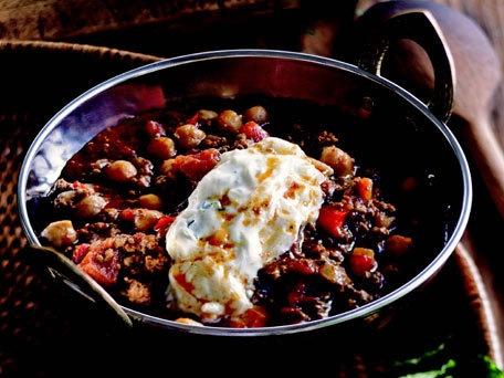 Lamb Chili with Chickpeas and Raita- Have to make this!