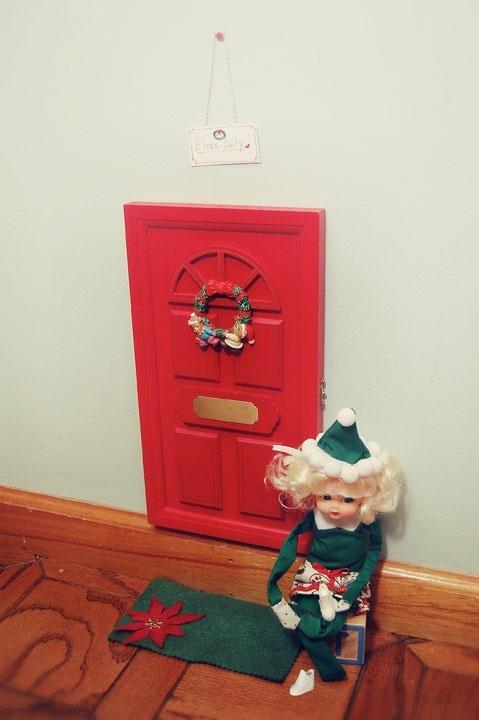 Elf on the shelf door and doormat happiness pinterest for Elf door and elf