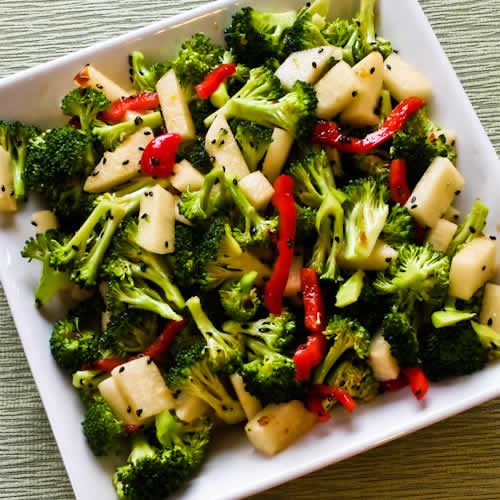 Spicy Broccoli-Jicama Salad with Red Bell Pepper and Black Sesame See ...
