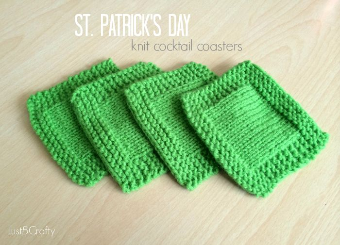 Free Knitting Patterns For Coasters : St. Patricks Day Knit Cocktail Coasters Knitting ...