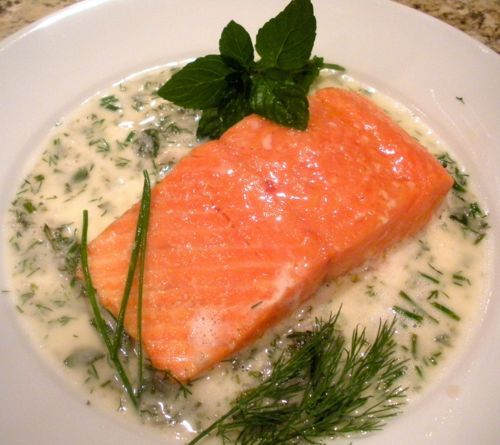 Slow-Roasted Salmon With Spring Herb Sauce
