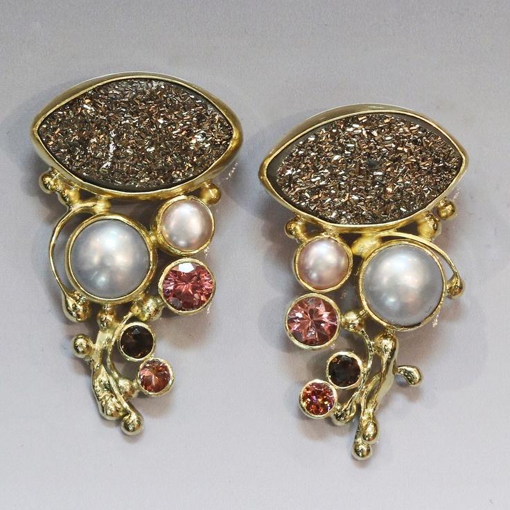 Chromium drusy earrings with pearl, zircon, smokey quartz in 22k & 18k gold.