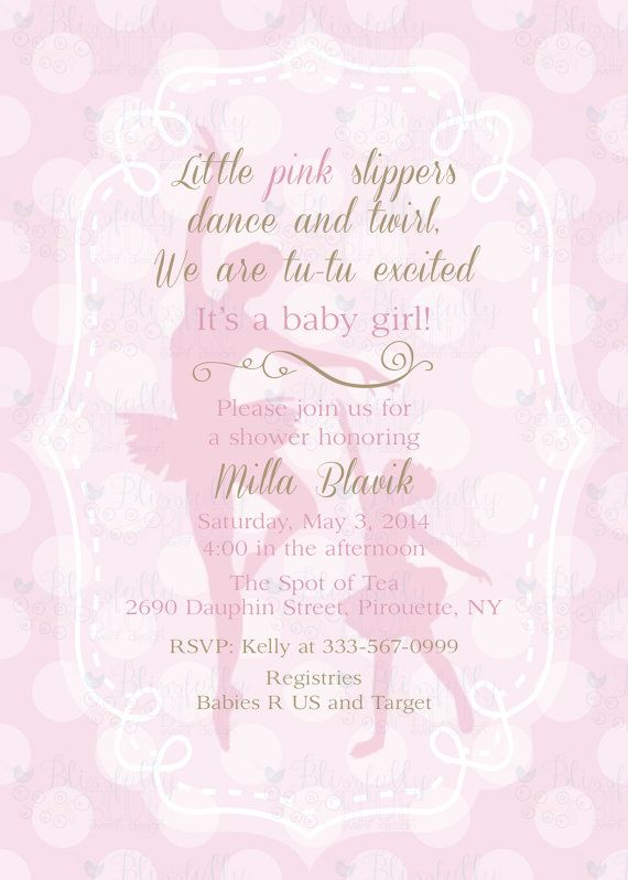 ballerina baby shower or birthday party invitation 5x7 diy