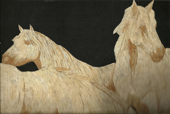 Horses made out of rice straw  Handmade leaf art of by museumshop, $149.00