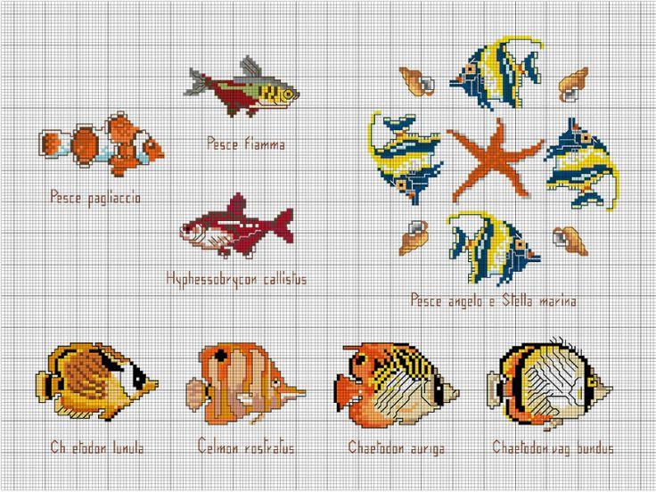 Схема вышивки морские обитатели 81