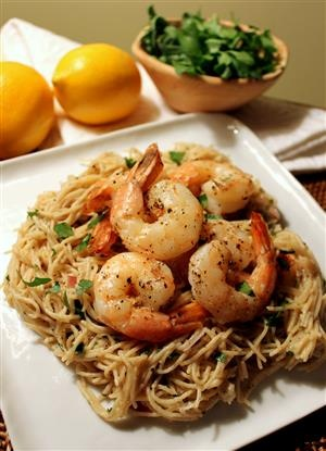 Lemon Pasta with Roasted Shrimp | Nomm so Hard! | Pinterest