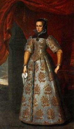 Portrait of Mary in a Spanish Style Gown. This portrait of Mary is in the collection of Apsley House in London. It is said to be a 17th Century copy of a portrait by Antonio Moro. It is interesting in that it is trying to be a portrait done in the Spanish style. She holds a handkerchief in one hand reminiscent of portraits of Isabella of Spain and Elizabeth of Valois. The dress is a Spanish or even Italian style modified to include Mary's familiar collar.