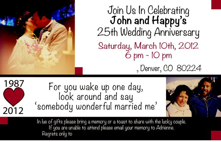 25th Wedding Anniversary Ideas For Mom And Dad : Mom and Dads 25th Wedding Anniversary Invite