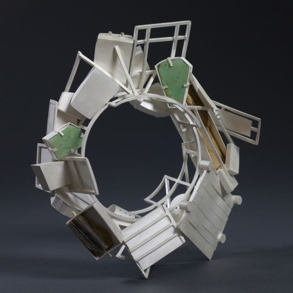 """Flood""  by Michael O'neill - 2010  Bracelet  Silver; Pyrex; Driftwood  5.5 x 2 inches  13.97 x 5.08 cm"