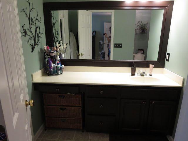 framed mirror using crown molding Bathroom Ideas