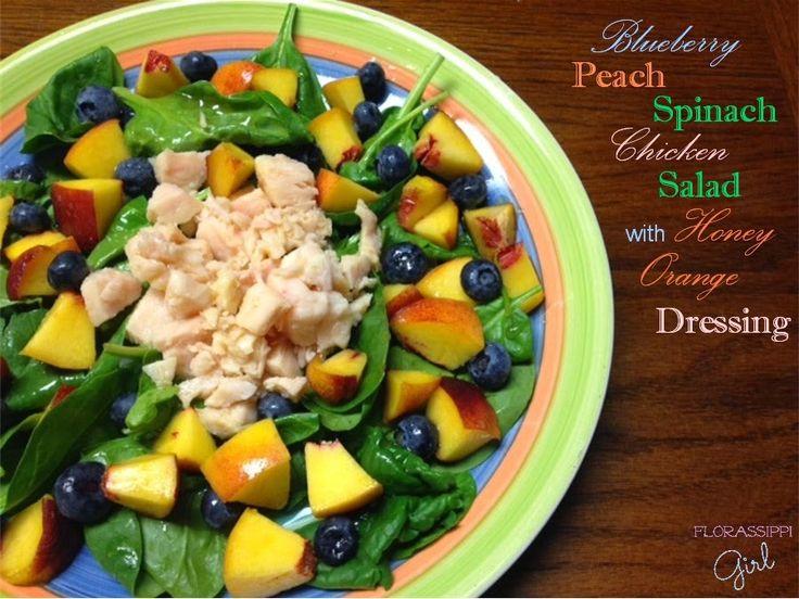 Blueberry Peach Spinach Chicken Salad