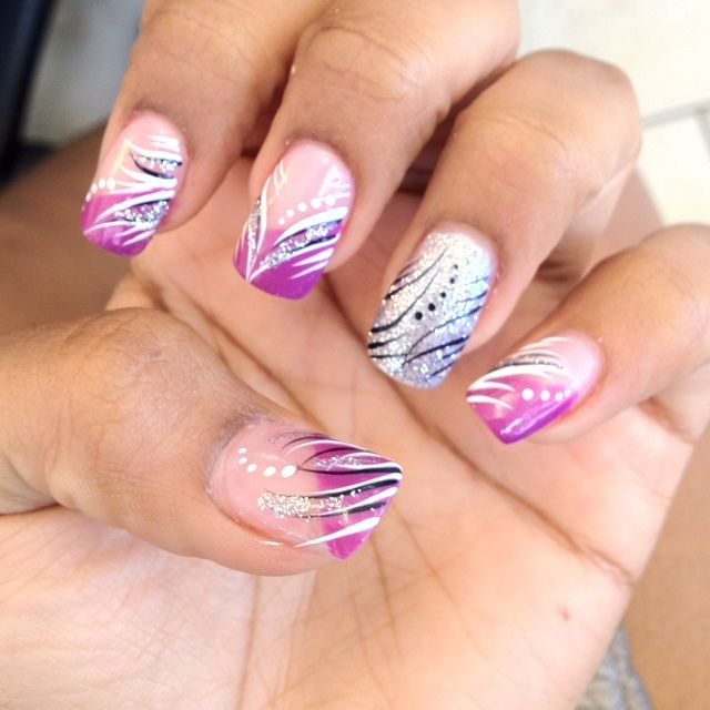 ... one is different color! awesome! NAILS!!! :)? | Nail fake nail designs