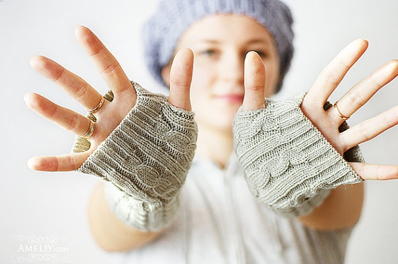 Knitting Gloves Without Fingers : Pin fingerless gloves knit wrist warmers charcoal grey
