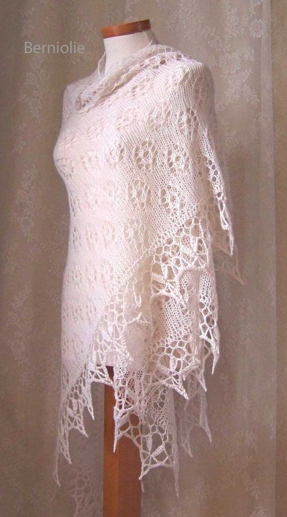 ROSA Knitting/crochet shawl pattern PDF by BernioliesDesigns