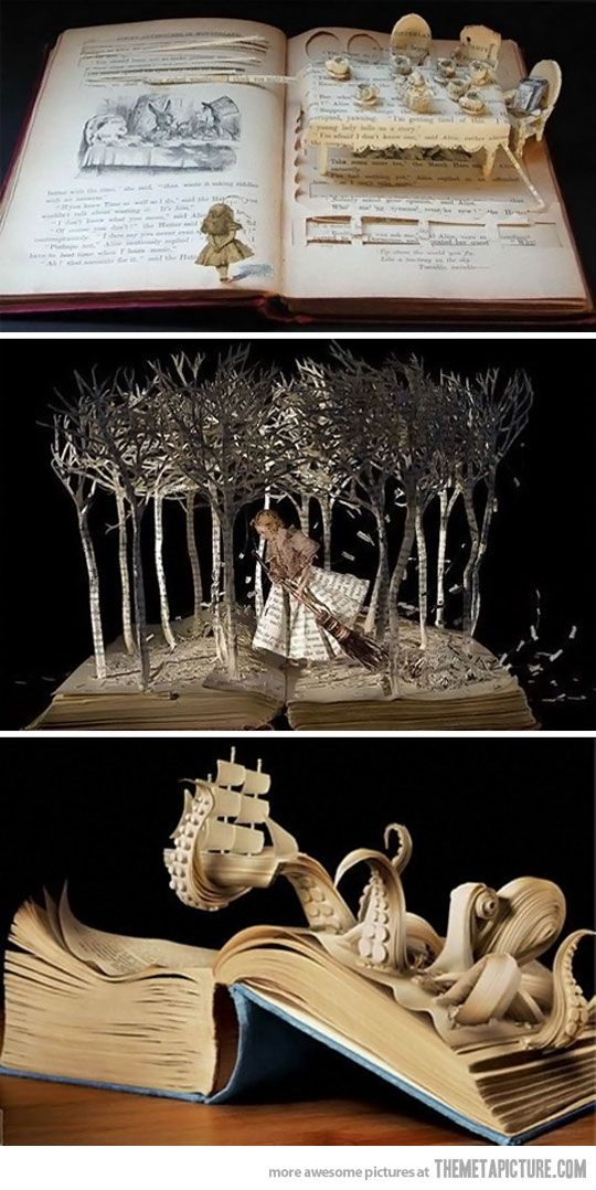 Book Carvings... I don't know if I could do that to a book though.