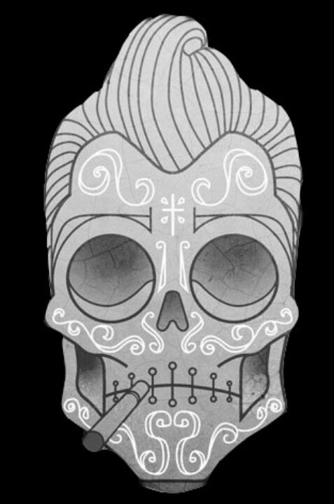 Greaser sugar skull tattoo that I will get for  Preston Carda one of    Greaser Sugar Skull