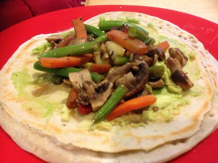 Stir fry & avocado wrap - delicious! | Moo Free | Pinterest