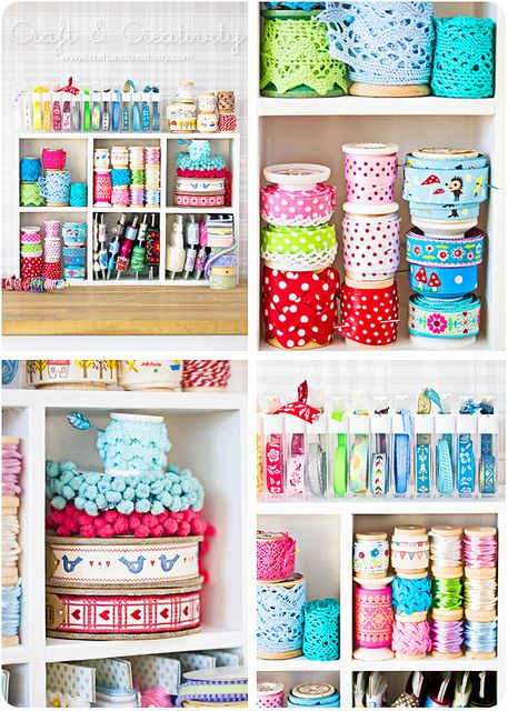 organized trims and ribbons