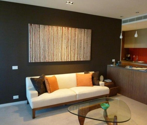 Earth tone stripes painting for a natural breeze living room color